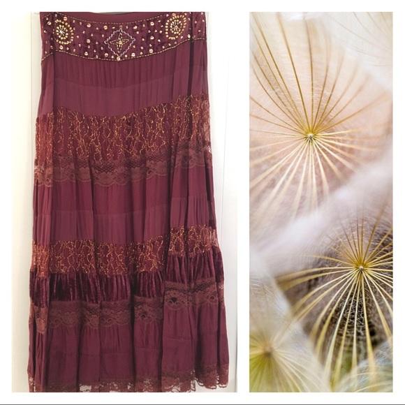 Newport News Skirts Bogo Boho Style Embellished Maxi Skirt Poshmark